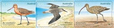 AUS 18/05/2021 Migratory Shorebirds self-adhesive set of 3 from booklets (exSB749-51)